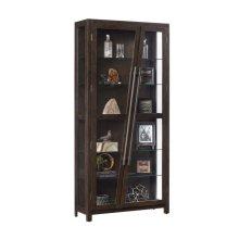 Angled Two Door 5 Shelf Display Cabinet in Rich Oak Brown