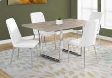"DINING TABLE - 36""X 60"" / DARK TAUPE / CHROME METAL"