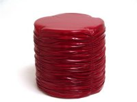 Red Faux Leather Stool-15.75x15.75x16.16 Product Image