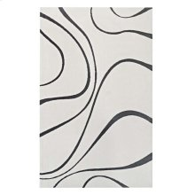 Therese Abstract Swirl 5x8 Area Rug in Ivory and Charcoal