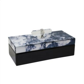 Wood & Glass Storage Box, Blue Marble Look