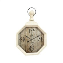 "Metal 37.5"" Wall ""pocket Watch"", White"