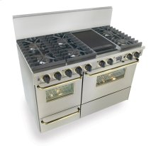 "48"" Dual Fuel, Convect, Self Clean, Sealed Burners, Stainless Steel with Brass Trim"