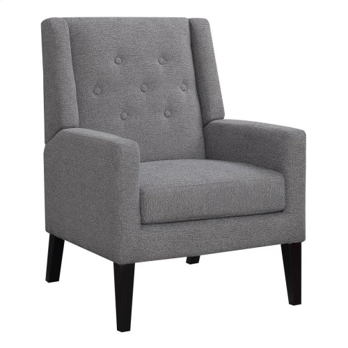 Transitional Demi-wing Grey Accent Chair