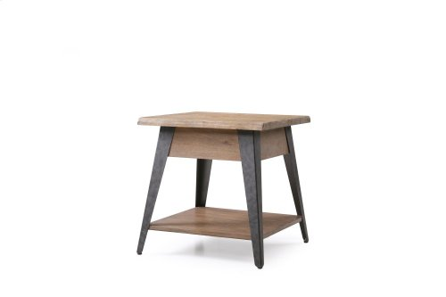 Emerald Home Harper's Mill Square End Table W/ Wood Top and Metal Legs Pine T611-01