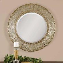 Alita Champagne Round Mirror
