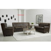 Charlie Tufted Leather Loveseat in Heritage Brown Product Image
