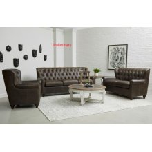 Charlie Tufted Leather Loveseat in Heritage Brown