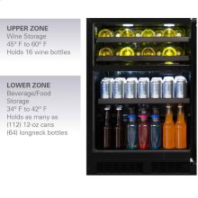 """Marvel 24"""" Dual Zone Wine and Beverage Center - Panel-Ready Framed Glass Overlay Door - Integrated Left Hinge"""