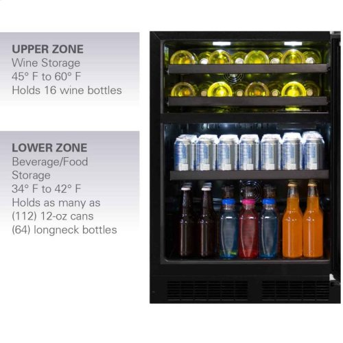 """Marvel 24"""" Dual Zone Wine and Beverage Center - Panel-Ready Framed Glass Overlay Door - Integrated Right Hinge"""