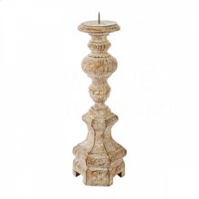 Petite Roma Rustic Wood Candlestick