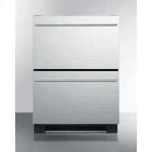 Two Drawer All-refrigerator for Built-in Use With Stainless Steel Drawer Fronts, Auto Defrost With Digital Thermostat and Alarm