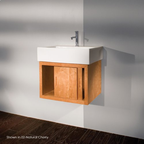 "Wall-mount under-counter vanity, one drawer with finger pulls and one cubby. The drawer has U-shaped notch for plumbing 23 3/8""W, 18 1/4""D, 16""H"