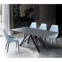 Armen Living Urbino Contemporary Grey Glass 5 Piece Metal Dining Set Product Image