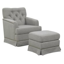 Emerald Home U3348-04-03-2pcset Ashdale Swivel Glider Chair & Ottoman, Cement