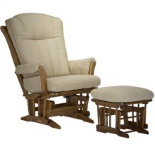 """This wood glider is part of the """"Grand Glider"""" family and features a base with wooden dowels and outward tapered curved armrests."""