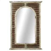 Distressed White Shutter Framed Wall Mirror.