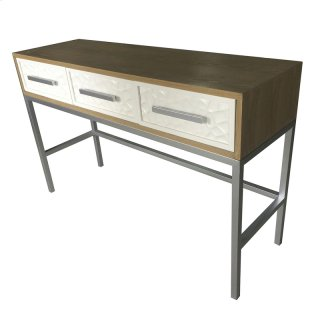 Montez Flagstone Pattern Console Table 3 Drawers Silver Frame, White/Natural