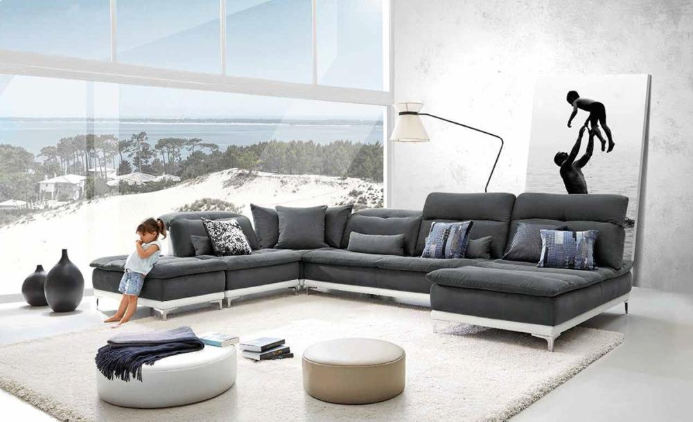 David Ferrari Horizon Modern Grey Fabric U0026 Leather Sectional Sofa