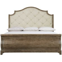 Queen-Sized Rustic Patina Upholstered Sleigh Bed in Peppercorn (387)