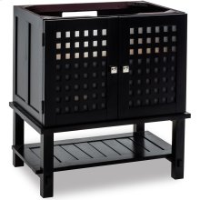"""31-3/8"""" vanity base with a Espresso finish, frosted tempered glass inserts, and open shelf."""