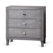 Grey Wooden Starburst Chest  33in X 32in X 16in  Three Drawer Chest