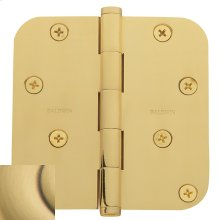 "Satin Brass and Brown 5/8"" Radius Corner Hinge"