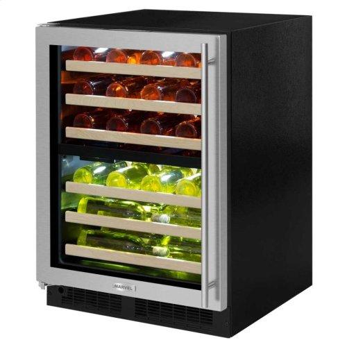 "24"" High Efficiency Dual Zone Wine Cellar - Black Frame, Glass Door - Left Hinge, Stainless Designer Handle"