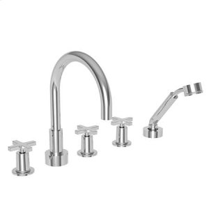 Flat Black Roman Tub Faucet with Hand Shower
