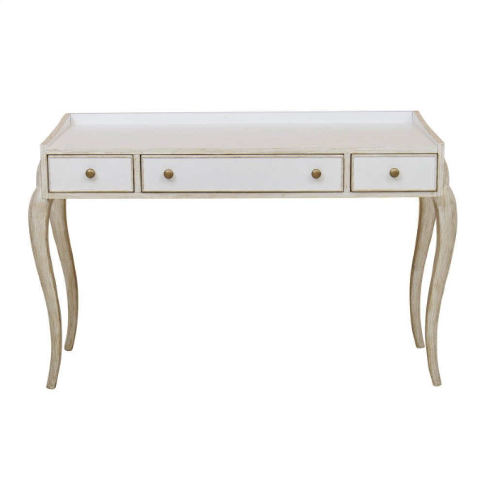Reece 3 Drawer Writing Desk in Distressed Cream / White