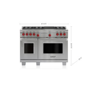 "Wolf  48"" Dual Fuel Range - 6 Burners and Infrared Charbroiler"