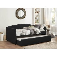BLACK PU DAYBED W/ TRUNDLE