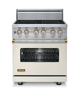 "30"" Custom Electric Induction Range, Brass Accent"
