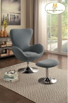 Swivel Chair and Ottoman Chair: 33.75 x 30.75 x 40.5 Ottoman: 21 x 15.5 x 17H