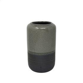 """Ceramic Vase 9.5"""", Gray"""