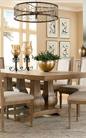 STANDARD 2013281-13281-13284 Savannah Court Trestle Leaf Table With 8 Chairs