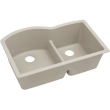 "Elkay Quartz Classic 33"" x 22"" x 10"", Offset 60/40 Double Bowl Undermount Sink with Aqua Divide, Putty"
