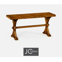 Narrow Country Walnut Topped Bench