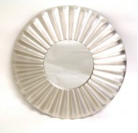 Silver Modern Round Mirror with Ruffles-35 Product Image