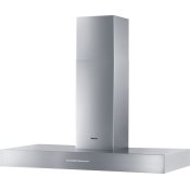 Wall ventilation hood with energy-efficient LED lighting and backlit controls for easy use.
