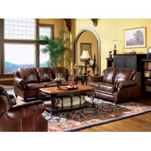 Princeton Traditional Brown Three-piece Living Room Set