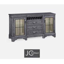 Plank Antique Dark Grey Low Cabinet & Wine Rack with Strap Handles