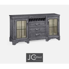 Plank Antique Dark Grey Low Cabinet & Wine Rack with Strap Handles