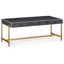 Anthracite Faux Shagreen Coffee Table with Gilded Base