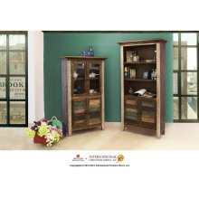 Bookcase w/2 Glass doors, 2 wood doors