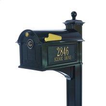 Balmoral Mailbox Side Plaques, Monogram & Post Package - Black