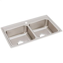 """Elkay Lustertone Classic Stainless Steel 33"""" x 19-1/2"""" x 7-5/8"""", Equal Double Bowl Drop-in Sink"""