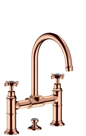 Polished Red Gold 2-handle basin mixer 220 with cross handles and pop-up waste set