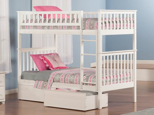 Woodland Bunk Bed Twin over Twin with Flat Panel Bed Drawers in White
