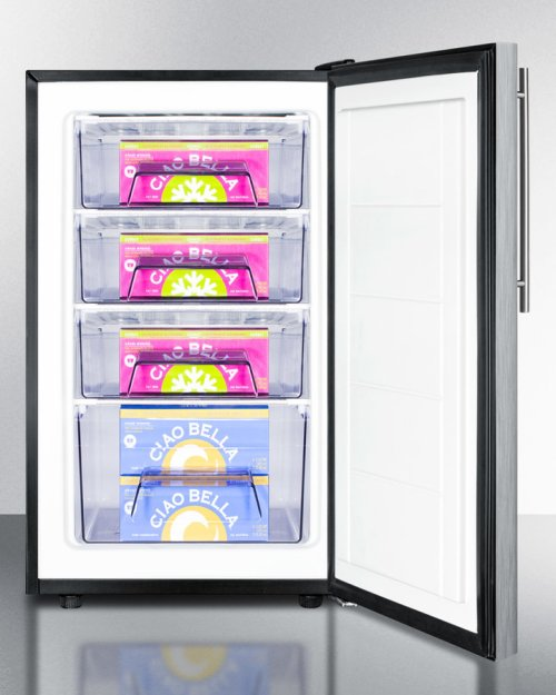 """20"""" Wide Built-in Undercounter All-freezer, -20 C Capable With A Lock, Stainless Steel Door, Thin Handle and Black Cabinet"""